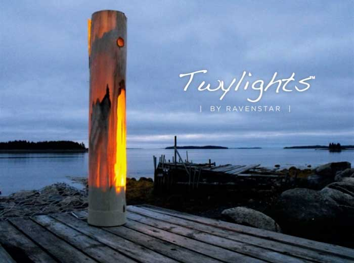 Twylight lamp on a wharf at twilight.